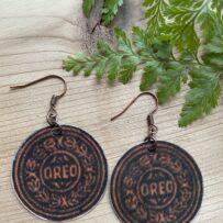 E. Vintage Tin Earrings Oreo Cookie