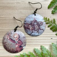 Vintage Tin Mix-Matched Victorian Horses & Child Earrings