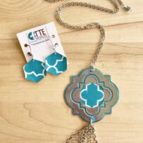 Turquoise Quatrefoil Necklace Tassel Long Chain with Optional Earrings