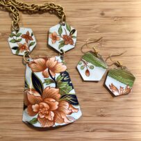Asian Inspired Floral Trapezoid Necklace Set with Vintage Chain
