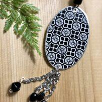 Vintage Tin Black White Reversible Long Pendant