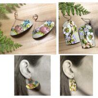 Vintage Tin Jumbo Floral Earrings Two Ways