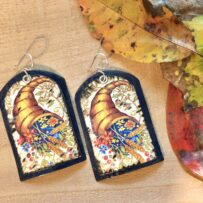 Vintage Tin Jumbo Cornucopia Earrings