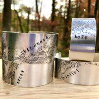 "Repurposed Silver Platter Cuff Bracelets ""Phrase"""
