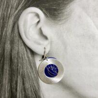Vintage Tin & Silver Tone Hoops Jumbo Earrings