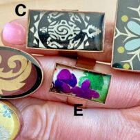 Vintage Tin Rings – Large Bezel -Copper -Adjustable