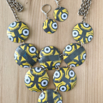 Vintage Tin Abstract Minions Statement Necklace Set