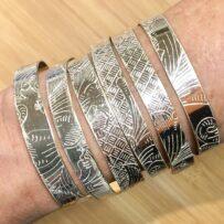 Repurposed Platter Cuff Bracelets Bright Silver, Antique Silver, Brass THIN