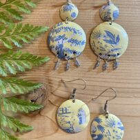 French Country Inspired Yellow and Blue Vintage Tin Earrings
