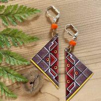 Geometric Triangles Vintage Tin Earrings