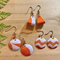 Pop of Orange  Vintage Tin Earrings 3 Ways