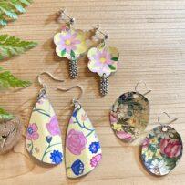 Yellow Floral Motif Vintage Tin Earrings 3 Ways