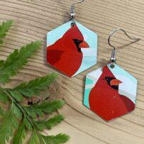 Mr. Cardinal -Vintage Tin Earrings