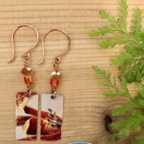 Vintage Tin Autumn Orange Rectangles with Crystal Accents