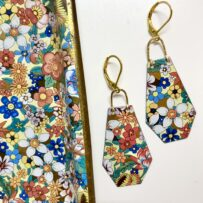 Vintage Tin Flower Power Polygon Earrings