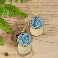 Dusty Blue Vintage Tin & Matte Gold Earrings