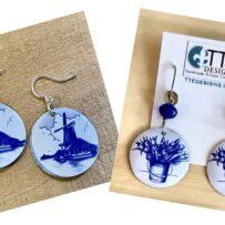 Vintage Tin Blue Delft Inspired Earrings