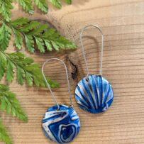 Vintage Tin Embossed Blue Seashell Earrings