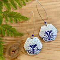 Vintage Tin Delft Inspired Blue Filigree Motif Hex Earrings