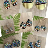 Vintage Tin Mosaic Inspired Multicolored Earrings