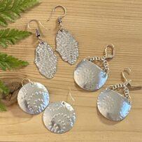 Vintage Tin 'Silvery' Embossed Earrings 3 Ways