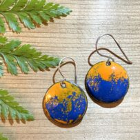 Vitreous Enamel Bright Orange and Daphne Blue Disc Earrings with Sterling Ear Wires