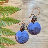 Vitreous Enamel Daphne Blue and Chocolate Brown Disc Earrings