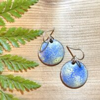 Vitreous Enamel – Ethereal Blue & Yellow with Sterling Ear Wires