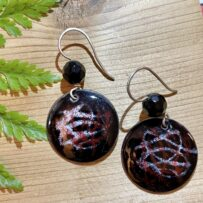 Vitreous Enamel Convex Black Red White Swirls with Faceted Crystal Accents